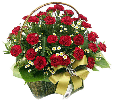 30 Red Carnations Round Basket
