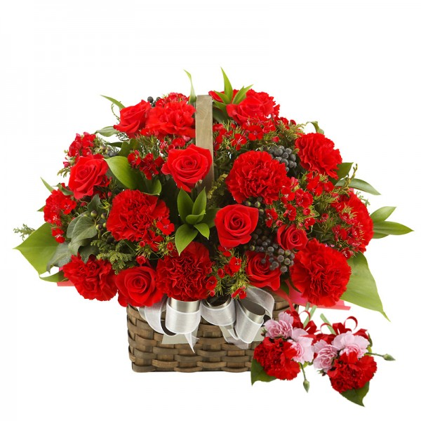 Send Online Square Red Flowers Basket On Mothers Day To Delhi Noida Ghaziabad