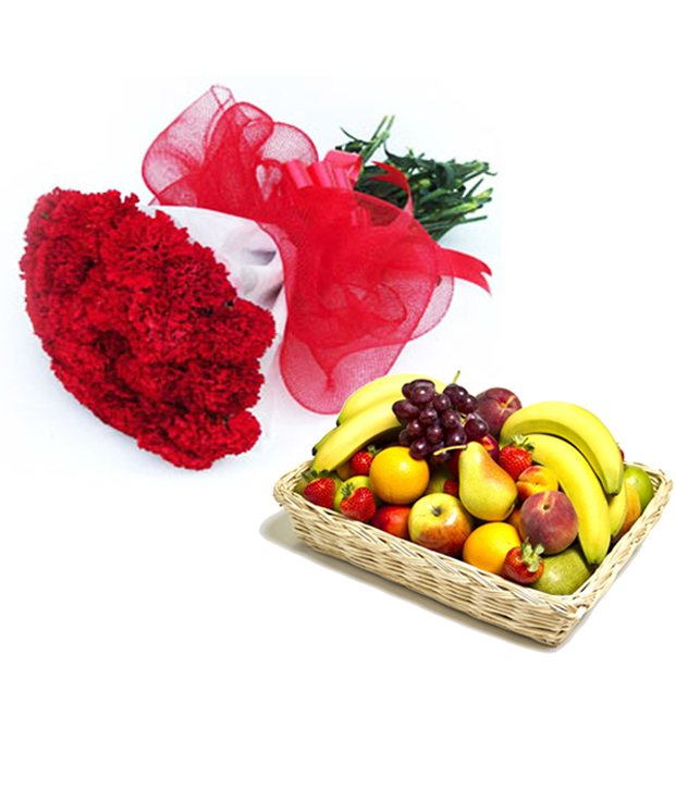 Carnation Bunch with Fruits
