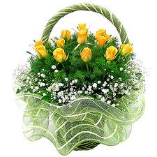 Yellow Roses Basket