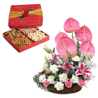 Anthurium Lilium Basket with Dry Fruit