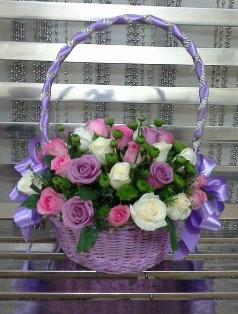 Blue Colored Basket with 24 Roses