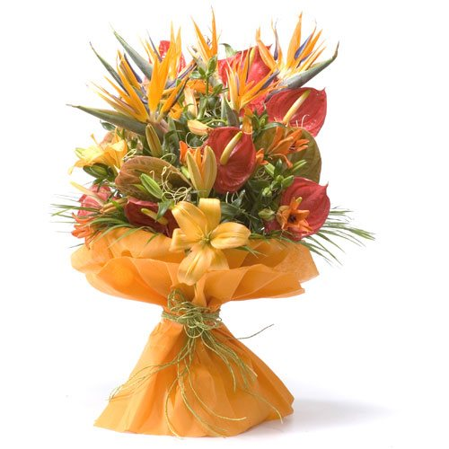 orange colour mixed flower bunch