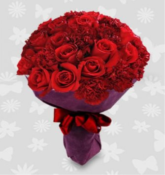 12 Red Roses & 12 Red Carnation Bouquet for delivery in Delhi & NCR