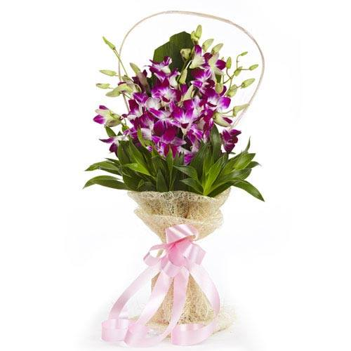 Bridal Bouquet In Mumbai : Orchids with jute packing delivery in delhi ncr