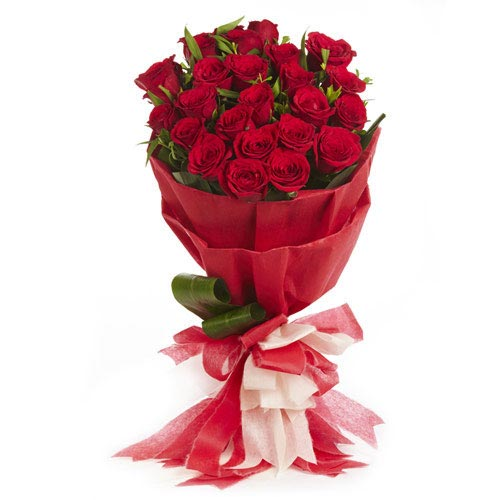 20 Red Roses in Red Paper Packing