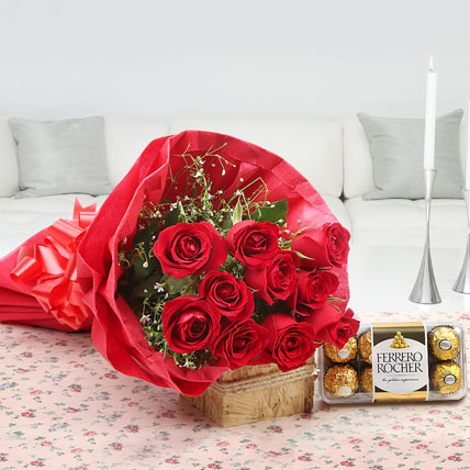 10 Red Roses with 16 Pcs Ferrero Chocolate Box