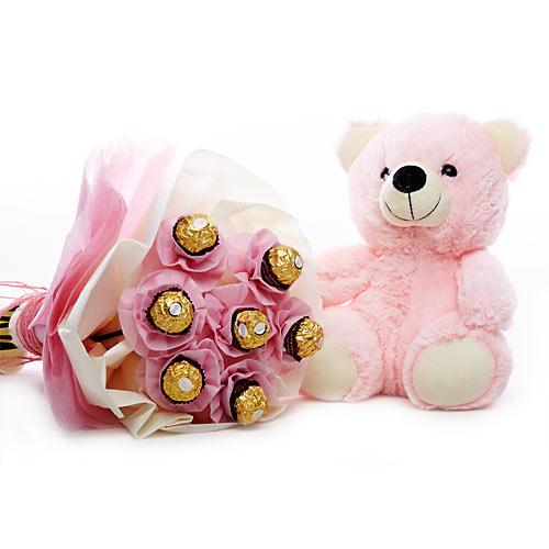 7 Ferrero Chocolate Bunch with Cute 10 inch Teddy Bear