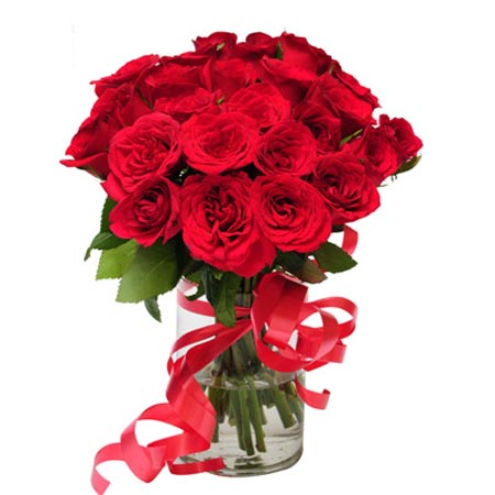 20 Red Roses in Glass Vase