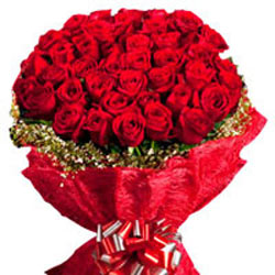 40 Red Roses with Red Jute Paper Packing