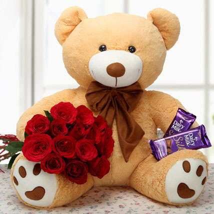 Red Roses 20 inch Teddy Dairy Milk Silk