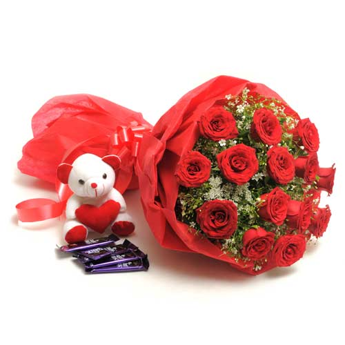 15 Red Roses with Chocolates and Teddy