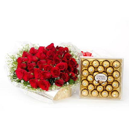 50 Red Roses Bunch with 24 Pcs Ferrero Chocolate Box