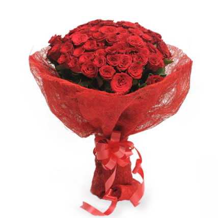 20 Red Roses in Jute Paper Packing