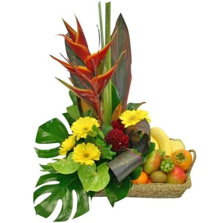 Exotic flowers n fruits basket Floral arrangements with fruit