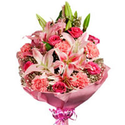 4 pink oriental lilies, 6 pink carnations and 6 hot pink roses