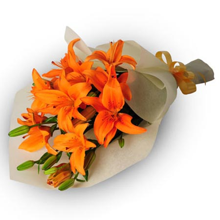 5 Orange Lilies Bunch