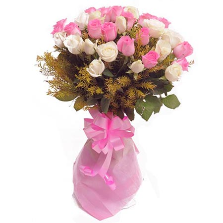 18 Pink and 12 White Roses Bunch