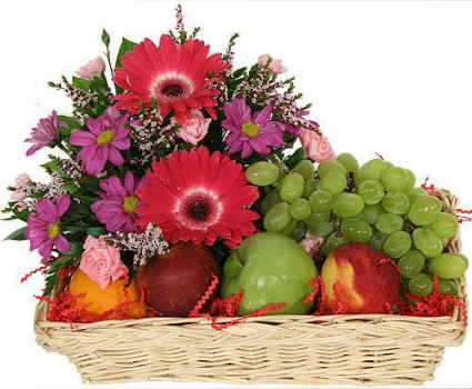 Flowers Fruits Tray Arrangement for Mothers Day