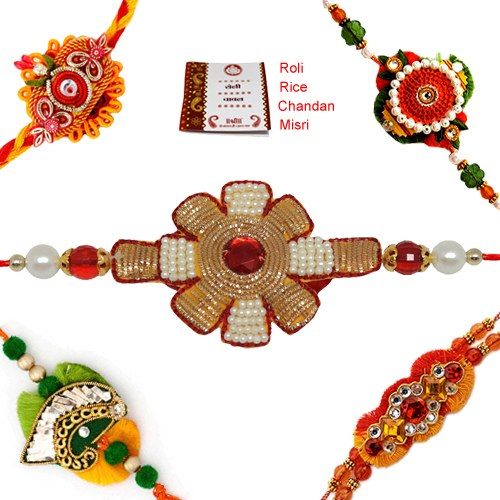 Affectionate Exuberance 5 Rakhis Pack C981