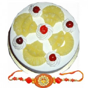 Rakhi with Half Kg Pineapple Cake C1656
