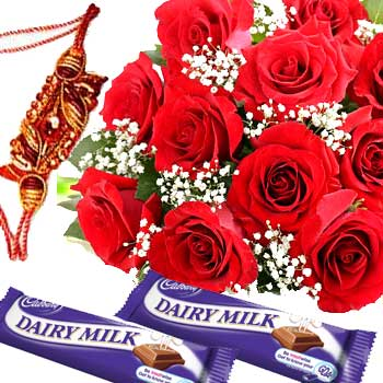 Rakhi Medium Pack with Rose and CadburyC1081