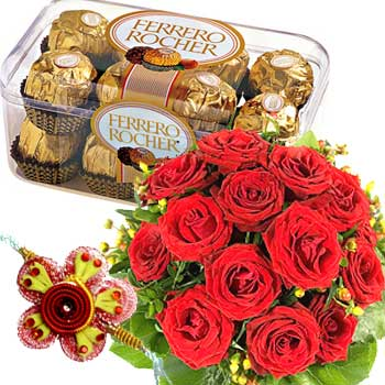 Rakhi Medium Pack Flower n Chocolate C1079