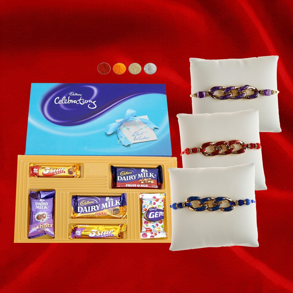 3 Rakhis with Cadbury Celebration Box