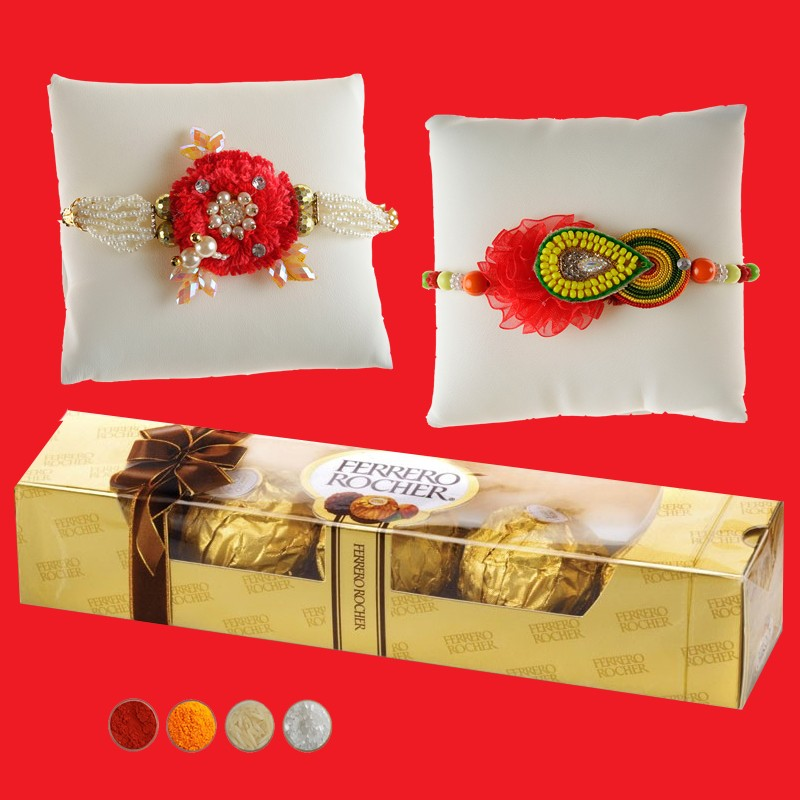 Fancy Rakhi with 5 Pcs Ferrero Chocolate