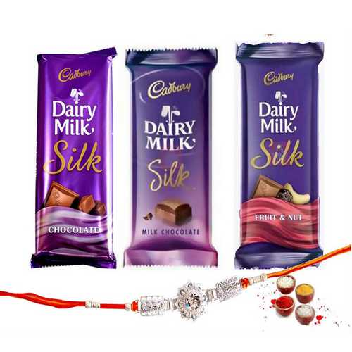 3 Dairy Milk Silk Chocolates with a Designer Rakhi