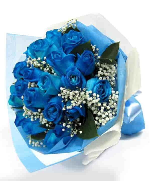 15 blue rose bunch