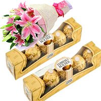 Ferrero Chocolates and Lillies Bunch