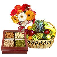 Bunch of 12 Mix Gerberas with 3 kg Fresh fruit Basket and Half kg Mixed Dry fruits