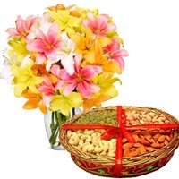 10 Mix Lily Vase and 1 Kg Mix Dry Fruits