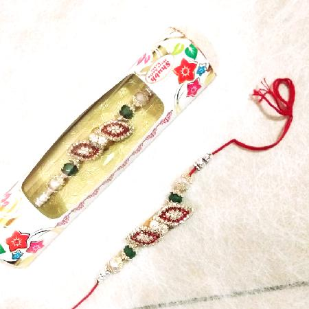Big Rakhi with Pearls R0009