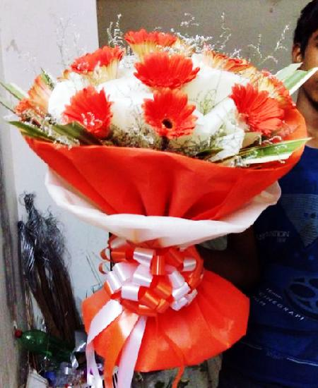 10 Orange Colour Gerbera Bunch