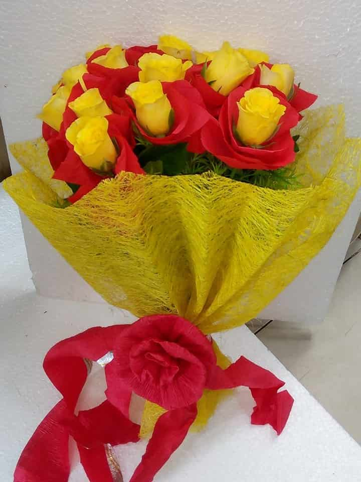 Yellow Roses with Red Covering