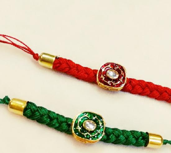 Pair of Green and Red Rakhis