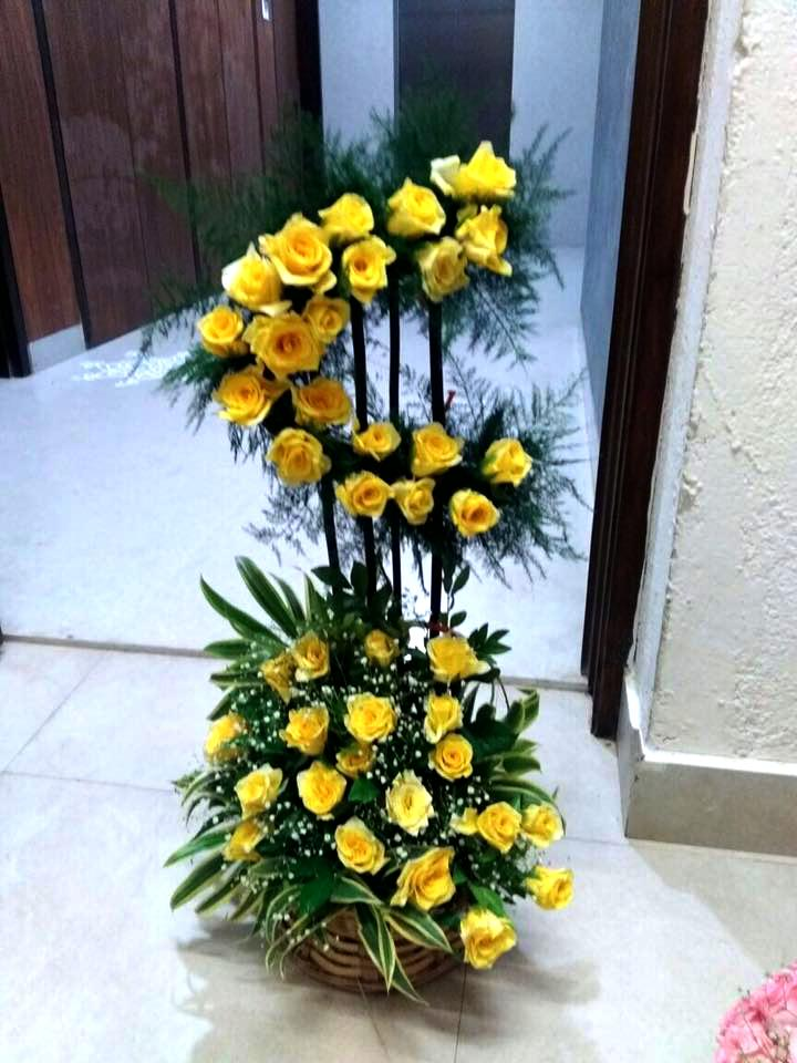 Tall Yellow Roses Arrangement