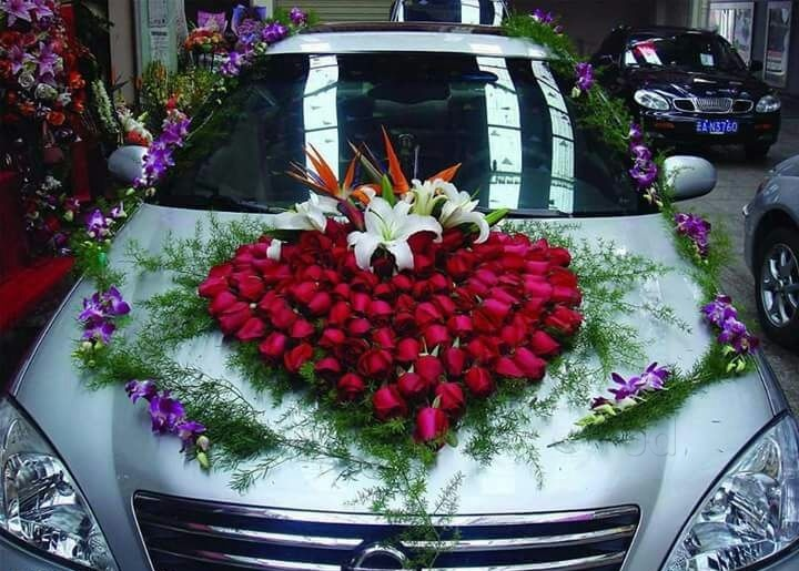 Marriage Car Decoration with Heart Roses, BOPs and Orchids