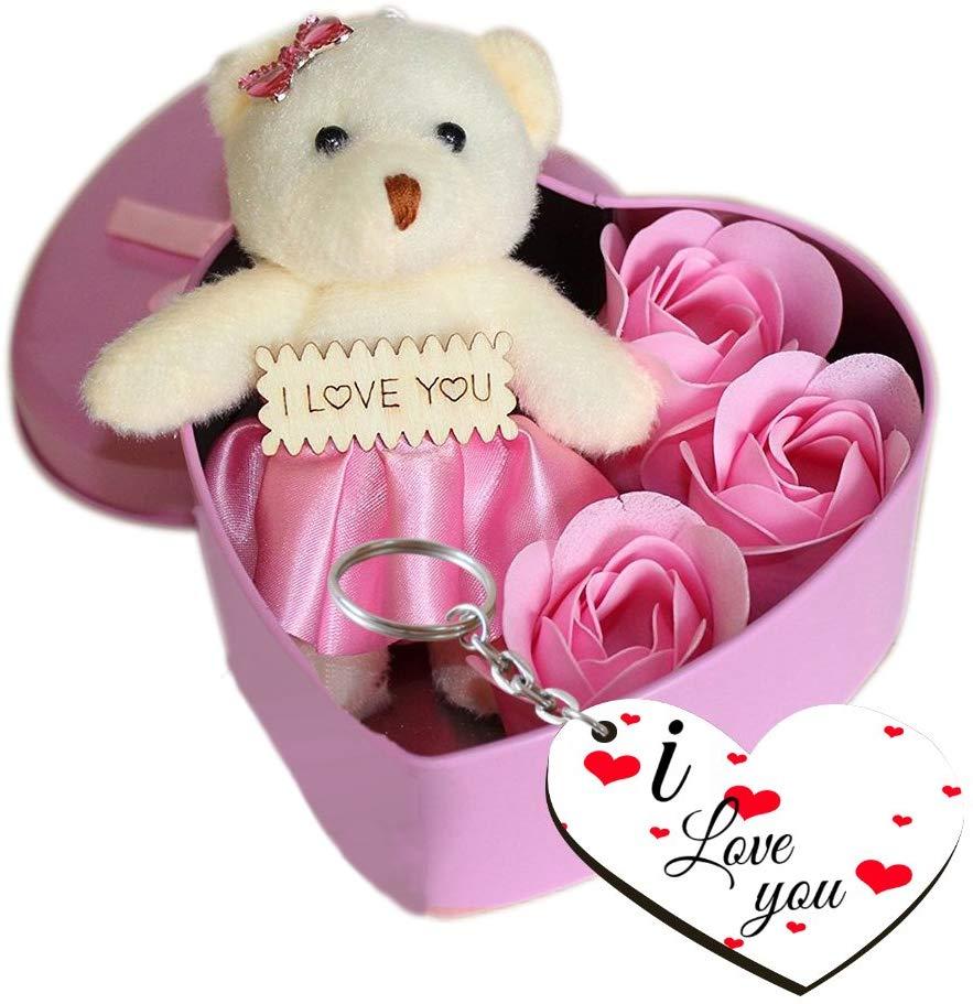 Roses, Teddy in a Heart Shape Box