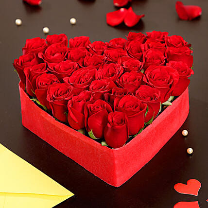 35 Red Roses Heart Shape Arrangement