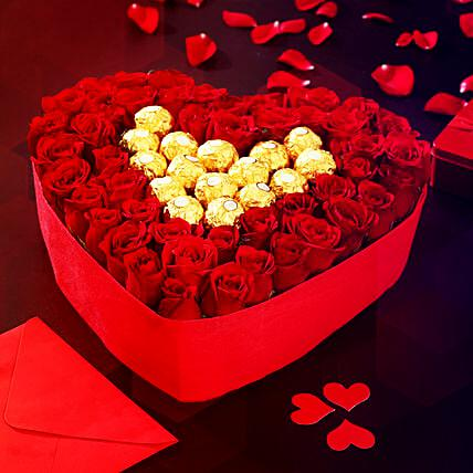 Valentine Heart Shape Roses and Ferrero Arrangemenet