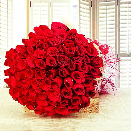 Big 100 Red Roses Bunch for Valentine Day