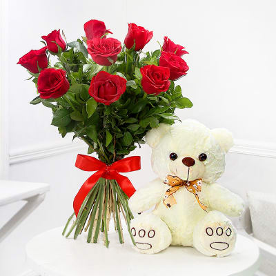 Valentine 10 Red Roses Bunch with Cute Teddy Bear