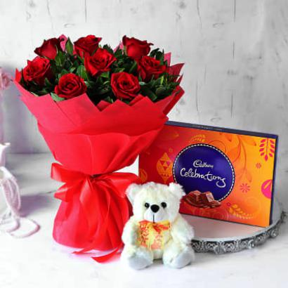 10 Red Roses Bunch, Teddy and Celebration Chocolate Box