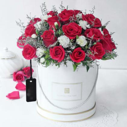 20 Red Roses and 10 White Carnations Arrangement