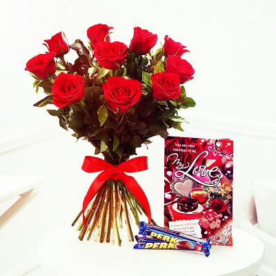 Combo of Valentine 10 Roses, 2 Perk Chocolates and Card