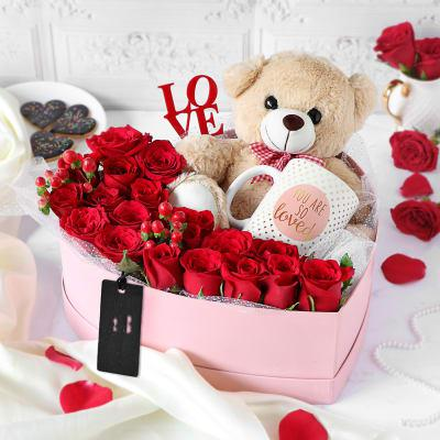 Romantic Heart Combo of Roses,Teddy and Mug