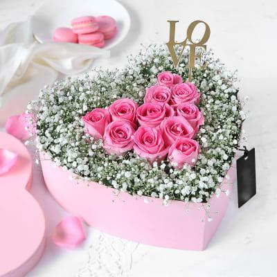 Pink Roses Heart Arrangement in Pink Box